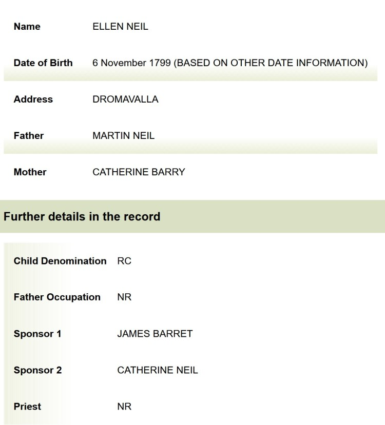 Ellen's birth record